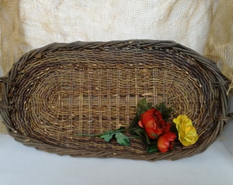 Wicker basket, hanging basket, big basket, old basket, vintage oval basket, farmhouse basket, garden basket, kitchen basket, lovelymore