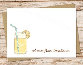 lemonade note cards notecards . folded personalized stationery stationary . lemons mason jar summer . thank you cards . printable