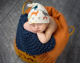 Organic Baby Hat, Rustic, Elk, Deer, Toddler, Beanie, Boy, Girl, Nature, Infant, Newborn, Knit, Cotton, Gift