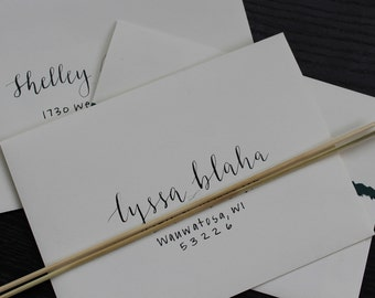 Handlettered calligraphy envelopes