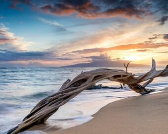 Sunset over the ocean Maui, Hawaii Metal Print