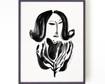 Woman portrait wall art Illustration Black ink drawing Watercolor art Black and white art Graceful woman portrait Buy 2 Get 1 Free