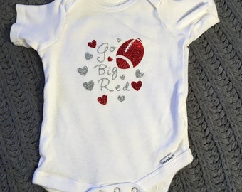 football go big red with hearts onesie