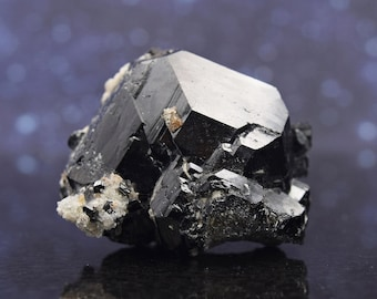 """Schorl Black Tourmaline Fusion Cluster with Topaz Cluster from Namibia   Terminated   1.74""""   64.5 grams"""
