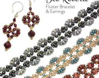 Flutter Bracelet and Earrings beaded pattern tutorial by Deb Roberti