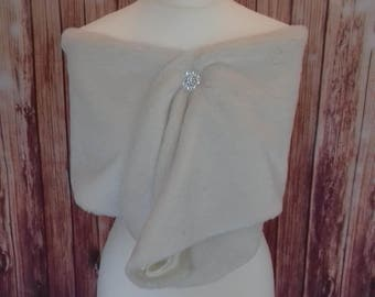 Cream Short Pile Faux Fur Wrap/Bolero/Shrug/Wrap/fur/wedding/stole
