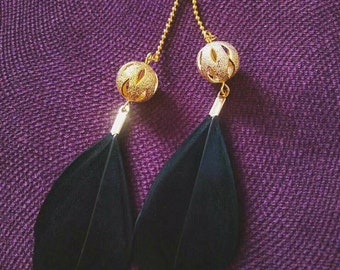 New! Long black Golden feather earrings with beads Bohemian summer party fashion accessories