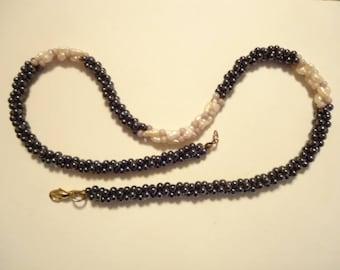"Vintage Hematite Seed Pearl Necklace 18"""