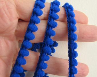 5 yards (4.5 meters) Baby Pom Pom Ball Fringe passementerie braid. ROYAL BLUE. 6/16 inch (7mm). 850-350