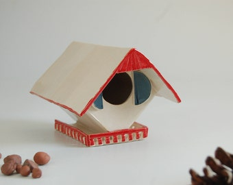 Bird House, handmade stoneware,modern,freestanding, red white and blue