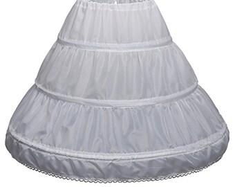 Girls' 3 Hoops Petticoat Full Slip Flower Girl Crinoline Skirt (Child)