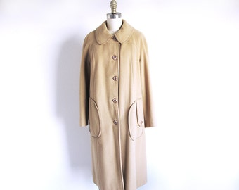 Vintage 60s Wool Coat, Tan Wool Coat, Vintage Winter Coat, Brown 1960 Coat, Boston Coat, Union Made in the USA