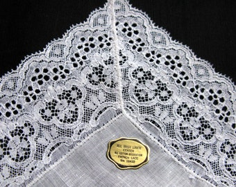 Irish Lace Handkerchief / for Wedding White Hankerchief / Something old to carry