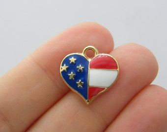 BULK 20 USA flag heart charms gold tone GC138