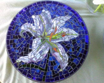 Custom designed stained glass flower mosaic garden stepping stones