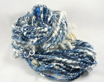Art Yarn Handspun Art Yarn Hand Spun Art Yarn Handspun Bulky Yarn Handspun Weaving Yarn Handspun Merino Yarn Blue Art Yarn Knitting Wool