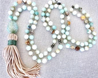 Amazonite Mala Necklace, 108 Prayer Mala Beads, Meditation Necklace, Boho Tassel Necklace, Spiritual Mala, Yoga mala, Agate drop necklace