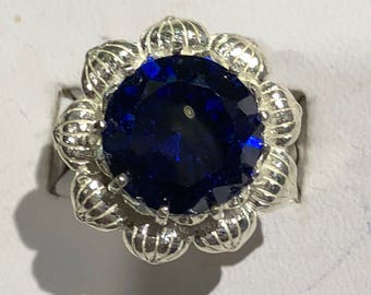 Blue sapphire and silver ring size 7