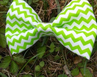 3 inch Green Chevron Fabric Hairbow on alligator clip