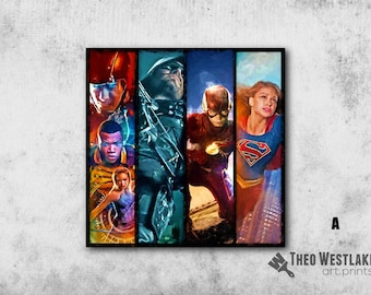 Superhero Art Print, Flash, Supergirl, Archer
