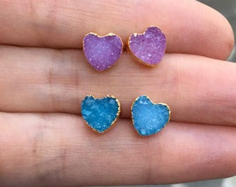 Druzy heart earring, druzy jewelry, heart earrings, boho jewelry, bridesmaids jewelry