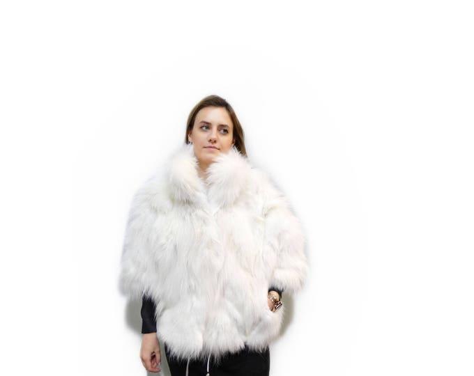 Fox Fur Cape, White Fox Fur Coat,Fashion Cape F327