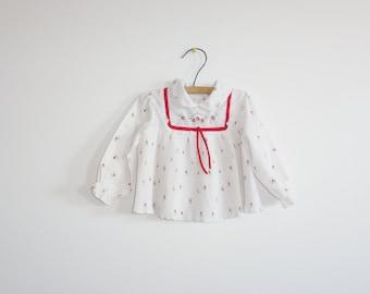 Vintage White Flower Baby Top