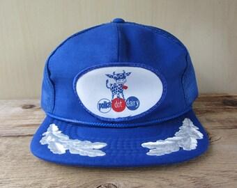 POLKA DOT DAIRY Original Vintage 80s Trucker Blue Hat Mesh Snapback Baseball Cap Dairy Cow Milk Captain Laurel Vernon Headliner Ballcap