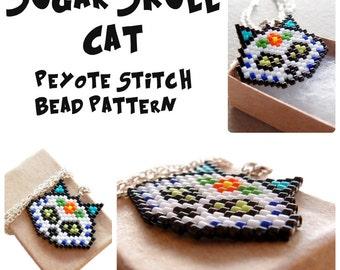 Sugar Skull Cat - Brick Stitch Pattern, Day of the Dead Bead Weaving