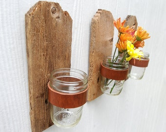 Dog Eared rustic jar sconce made from weathered and reclaimed wood fence picket, leather and mason jar
