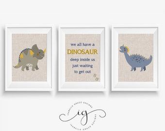Set of 3 A4 Neutral Dinosaur Nursery / Childrens Bedroom Art Print