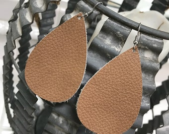 Buff genuine leather drop earrings
