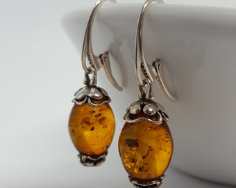 Handmade Vintage Natural Baltic Amber Earrings Sterling silver 925 Oval Earrings Dangle Earrings Amber and Silver Jewelry Gift for her