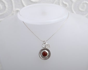 pure silver necklace ,bizanty inlay,agat stone inlay.