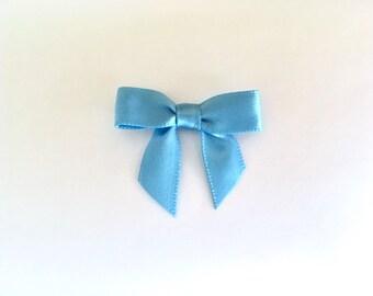 48 nœuds de Satin Bleu MINI - pré-faites et prêt pour l'artisanat