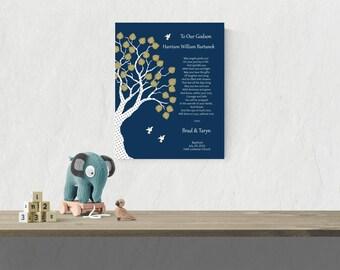 Personalized Godson Print   Baby Baptism Gift   Christening Print   Unique Godchild Gift   Baby Boy Name Art - 37077