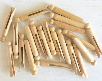 Vintage Wooden Clothespins Dolls Wood Clothes Pins Farmhouse Style Rustic Shabby Chic 20 count