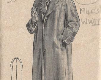 "1940s WW2 Vintage Sewing Pattern MEN'S RAGLAN OVERCOAT C38"" (1352) By Weldons 1336"