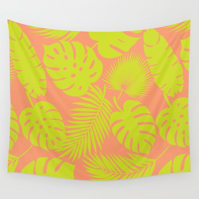Wall Tapestry - Tropical Leaves - Lime on Coral - Small Medium or ...