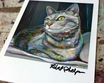 Colorful Striped CAT PORTRAIT Art Print by Robert Phelps--Cat Art, Colorful Cat, Cat Art Decor, Cat Painting, Colorful Cat,
