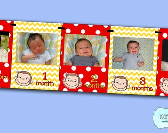 Curious George Party First Year Photo Banner / 12 Month Picture Banner - Curious George First Birthday - FILE to PRINT DIY