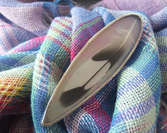 Light Pink Iridescent Stained Glass Feather Pin