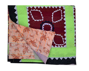 Best handmade kantha quilt / kantha / kantha throws / indian quilts/ twin blanket / throw / small stich quilt / recycled kantha quilt