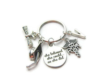 She Believed She Could So She Did Graduation Keychain, Graduation Keychain, Nurse Keychain, RN Keychain, RN Caduceus Keychain, Personalized