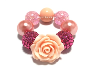 Toddler or Girls Chunky Flower Bracelet - Tropical Flower Bracelet - Peach, Pink and Coral Bracelet - Peach Bracelet - Flamingo Bracelet