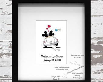 Mickey and Minnie Mouse Wedding Guest Book Alternative for Signatures on the Mat