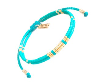 Turquoise , Seed Bead Bracelet with Gold Vermeil Beads, Boho Chic Layering bracelet,  Turquoise jewelry