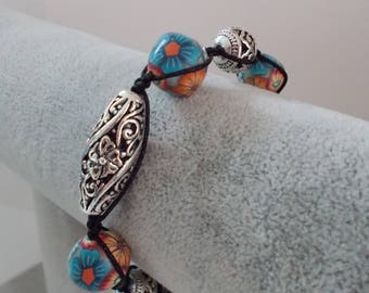 SALMON TURQUOISE flower and antique silver beads bracelet