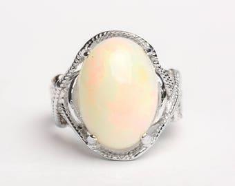 Opal Natural Silver Ring