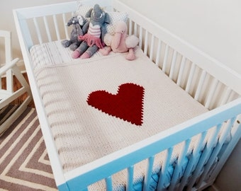 Knitted Heart Baby Blanket-Cream with red heart-crib size